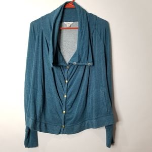 Lucky Lotus Snap Cowl Cardigan Size XS